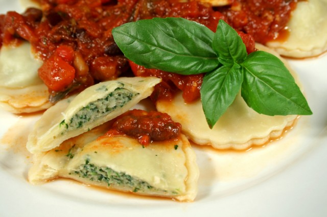 Chicken and spinach-filled ravioli