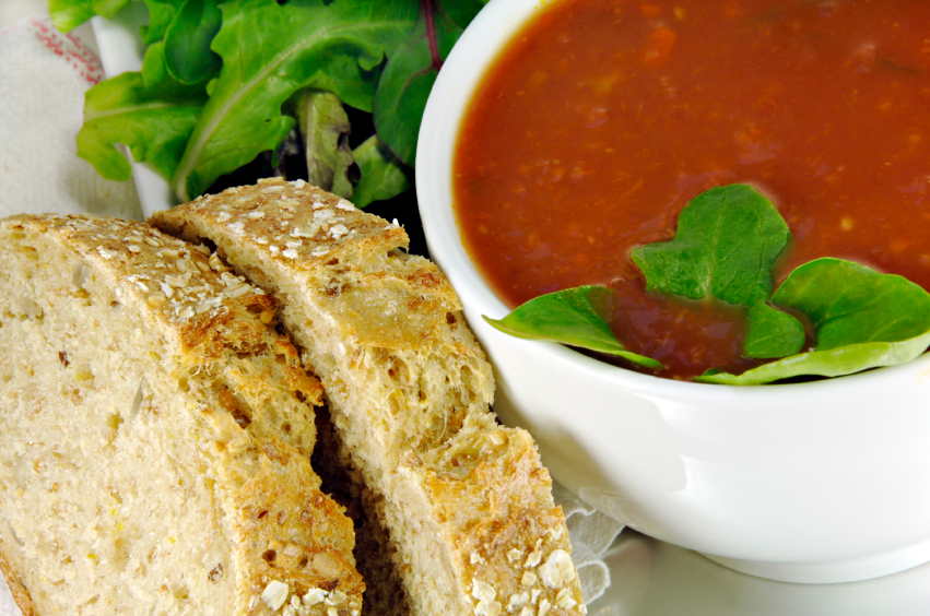 tomato soup with basil and bread