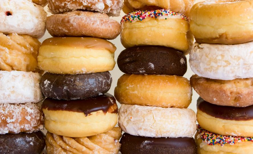 Four stacks of doughnuts