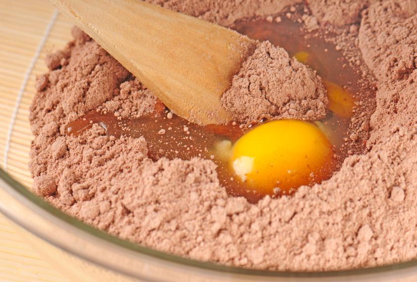 Mixing batter and egg yolk