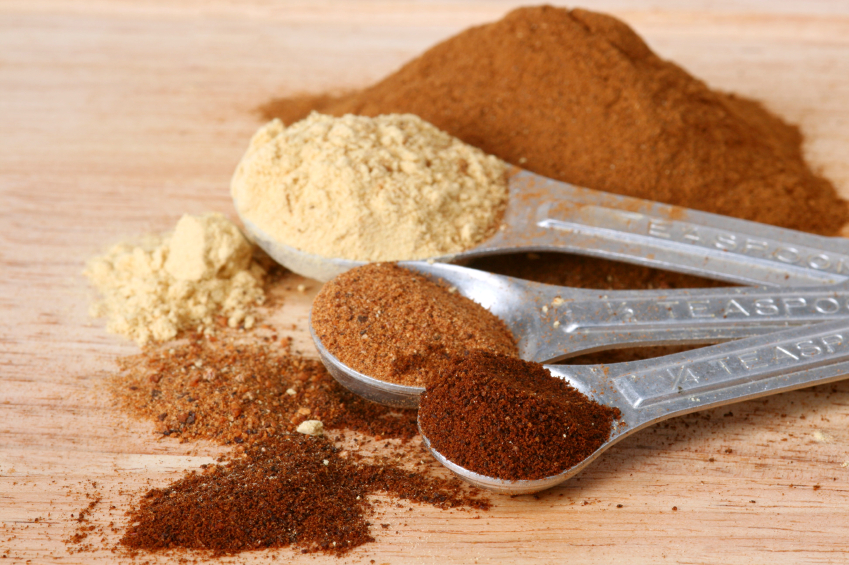 Spices on measuring spoons