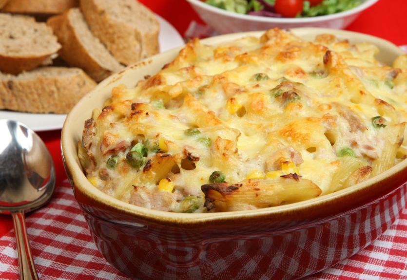 tuna noodle casserole with cheese on top