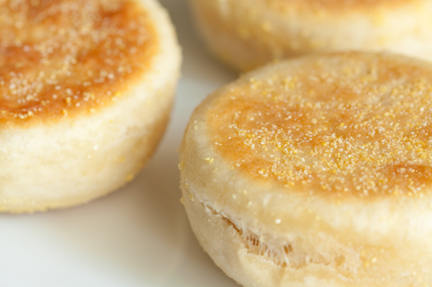 English muffins close up