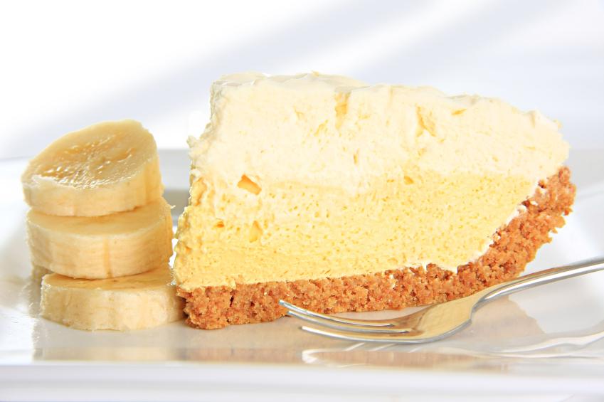 A slice of banana cream pie
