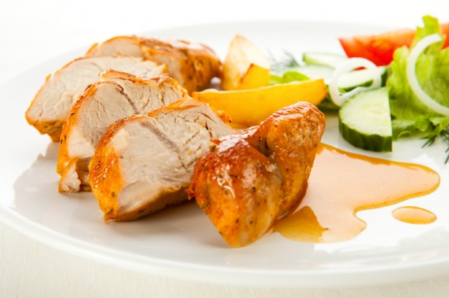 Chicken things with orange sauce
