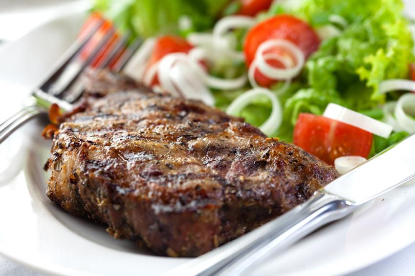 a steak and salad