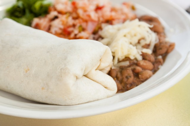 Burrito with beans and ric