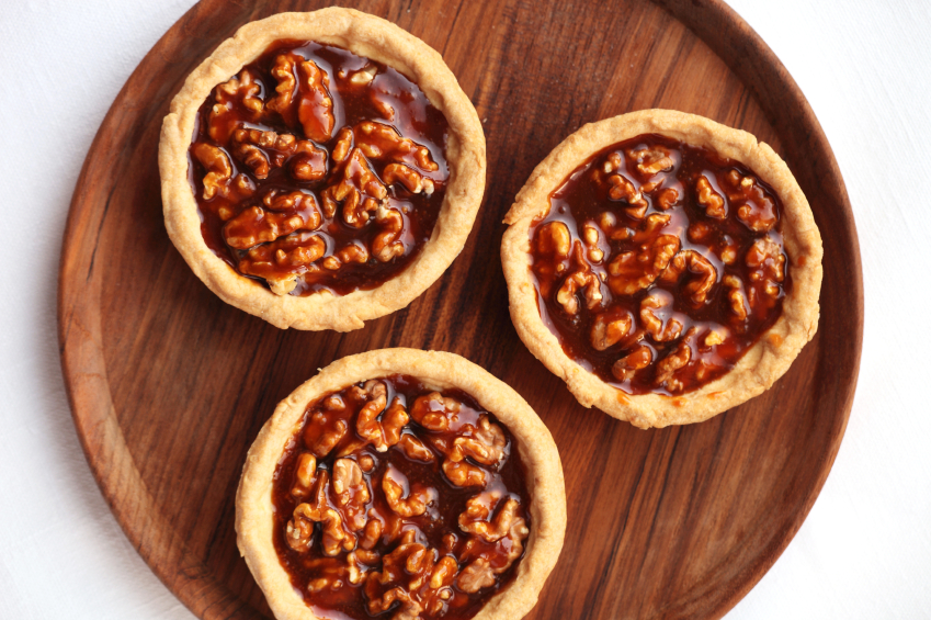 Three personal pecan pies