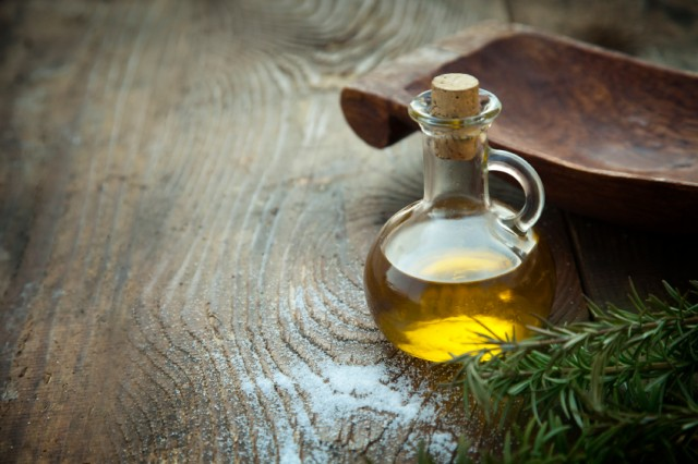 flask filled with olive oil