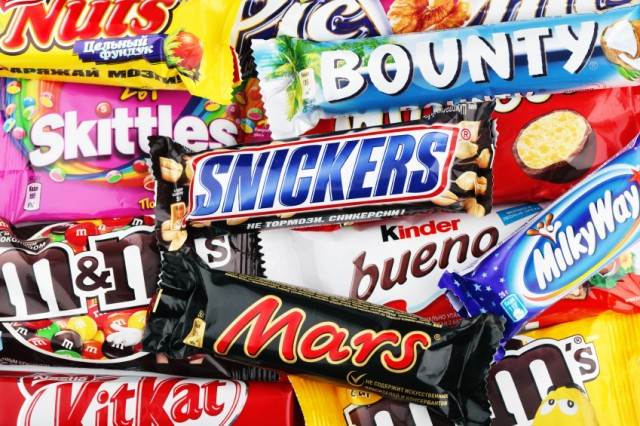 An array of candy bars