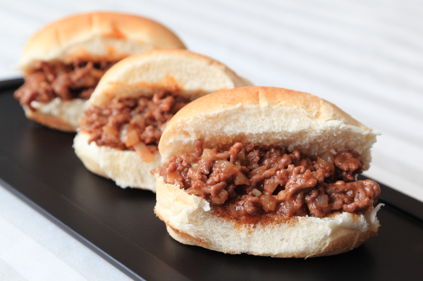 Sloppy Joe sandwiches in a row