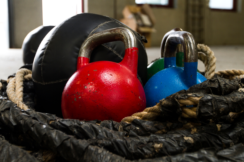 Kettlebells and other fitness gear.