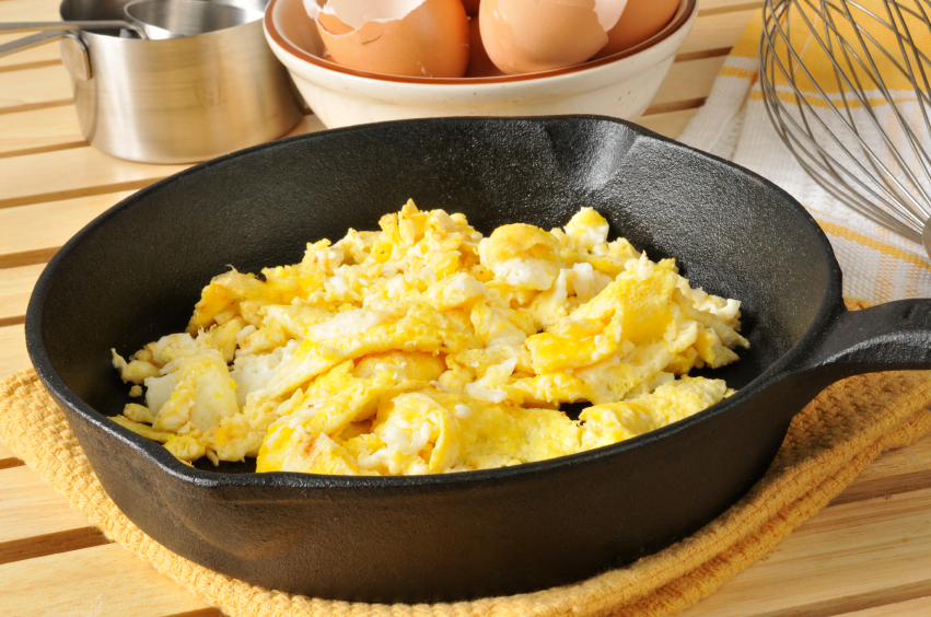 scrambled eggs in a skillet