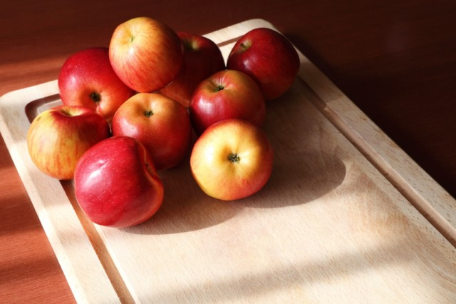 Apples on a cutting board