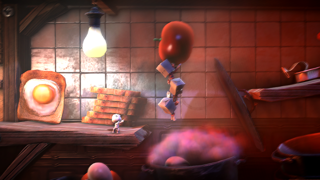 Sackboy bounces through a side-scrolling level in LittleBigPlanet.