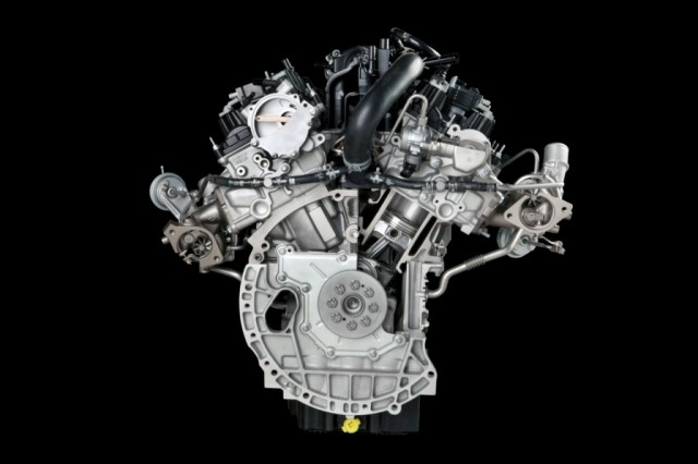 A cutaway of Ford's 2.7 liter EcoBoost V6