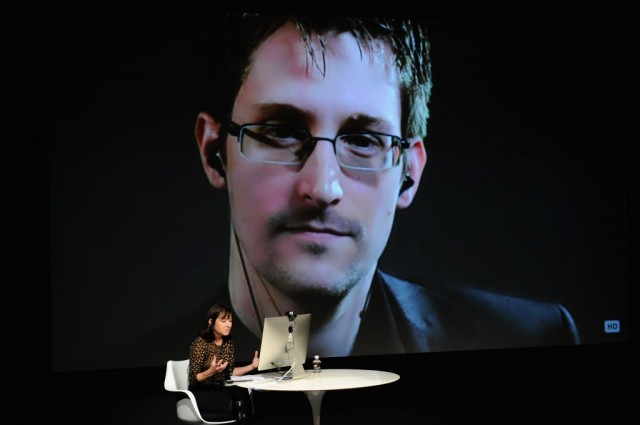 Edward Snowden Interviewed by Jane Mayer at the MasterCard stage at SVA Theatre during The New Yorker Festival 2014 on October 11, 2014