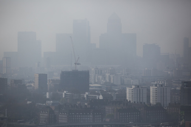 Air pollution obscures the London skyline