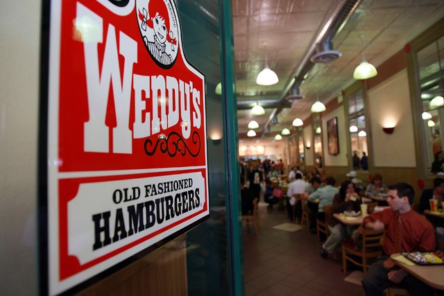 Diners inside a Wendy's location.