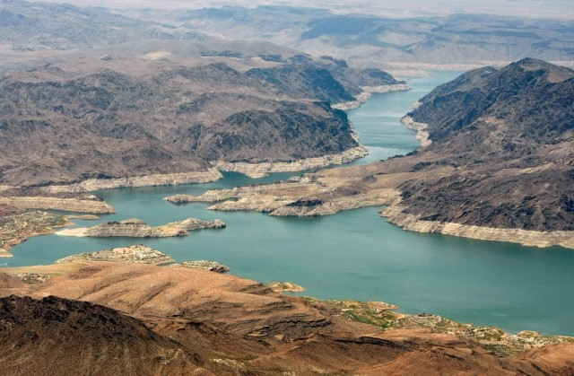 LAKE MEAD NRA, AZ - JUNE 12: An aerial view of the Narrows June 12, 2009 in the Lake Mead National Recreation Area, Arizona. (Photo by Ethan Miller/Getty Images)