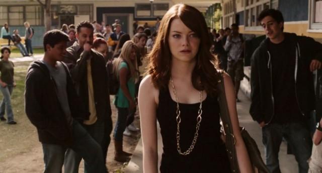 Emma Stone walking around her high school.