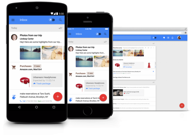 Google Inbox mobile and desktop