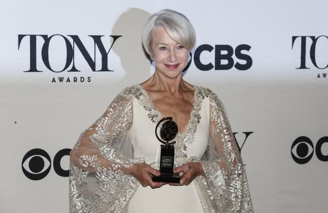 Helen Mirren poses with her Tony award