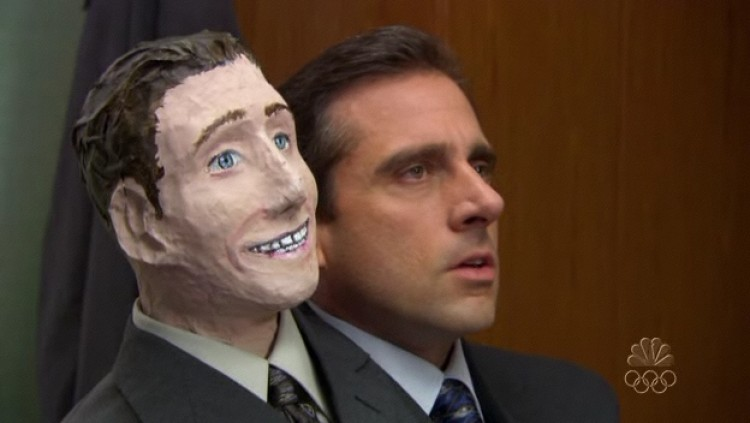 Michael Scott and his second head in 'The Office'