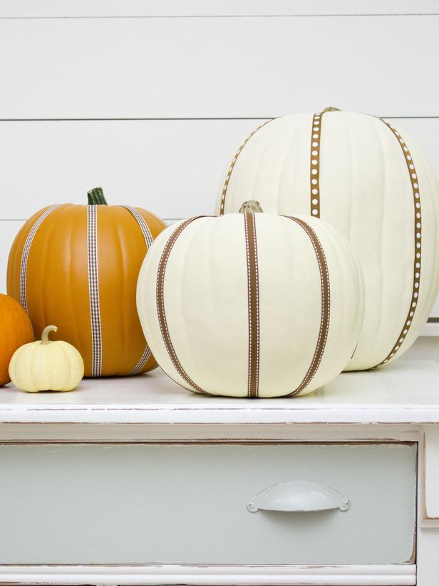 Ribbon-Embellished Pumpkins
