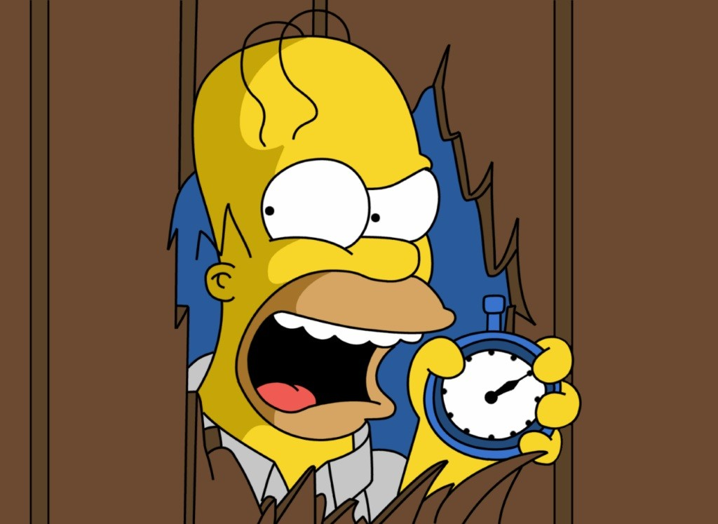 Homer Simpson pushing his head through a door, screaming, and holding a stopwatch
