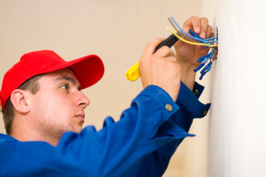Handyman doing electrical work
