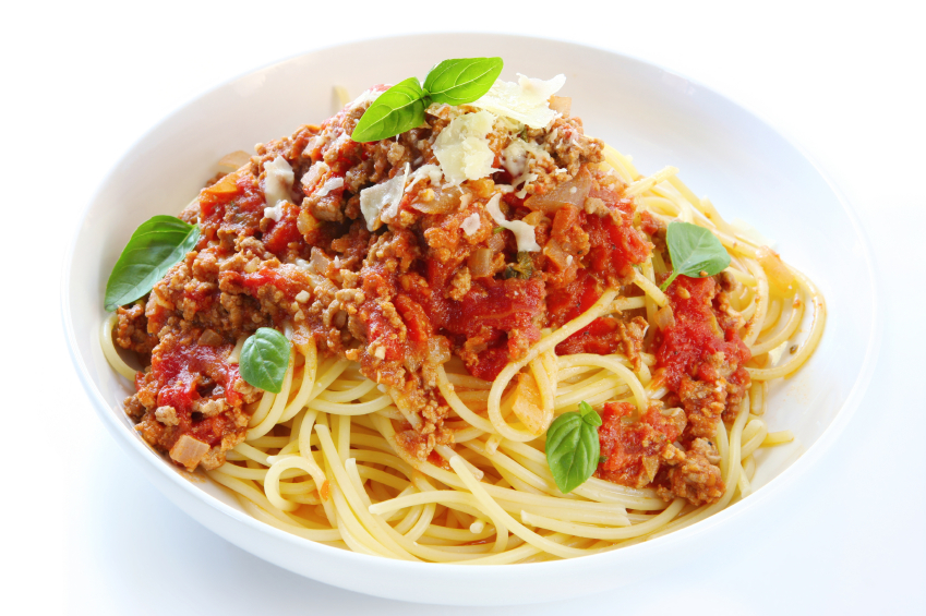 bowl of spaghetti with meat sauce