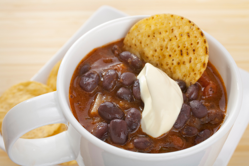 Mexican Black Bean Chili with Sour Cream