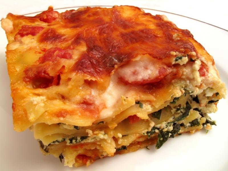 Lasagna, pasta, noodles, spinach