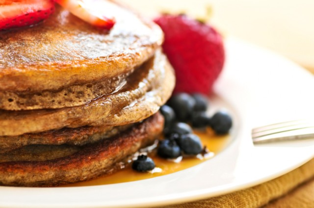 Buckwheat pancakes, blueberries