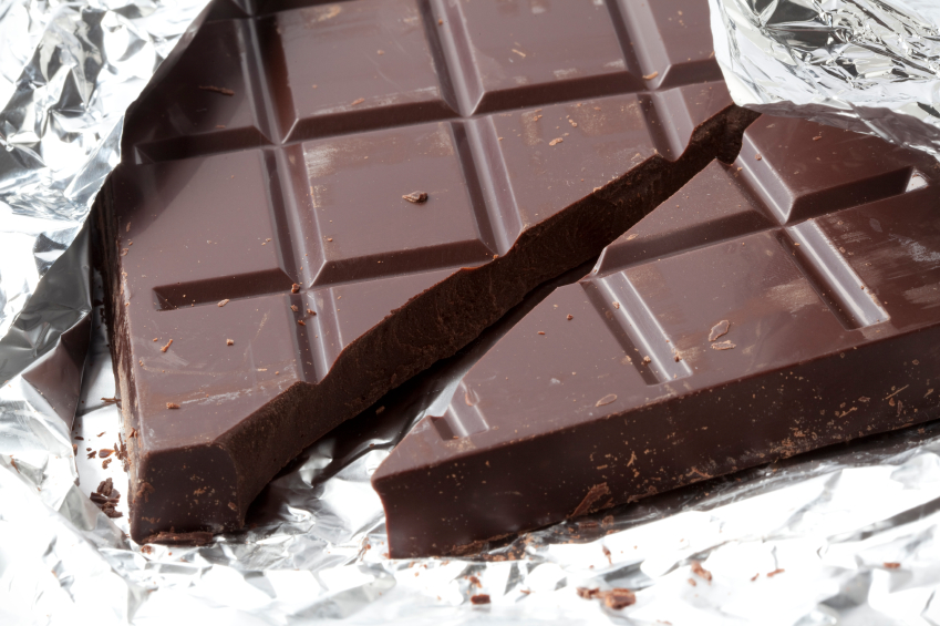 Dark chocolate bar wrapped in foil
