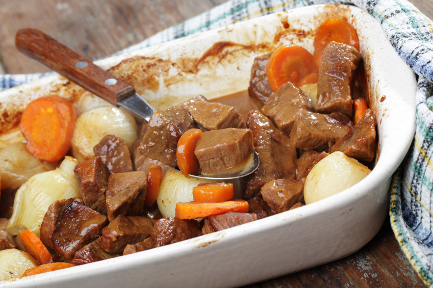 Beef, carrots, roast, onions, potatoes
