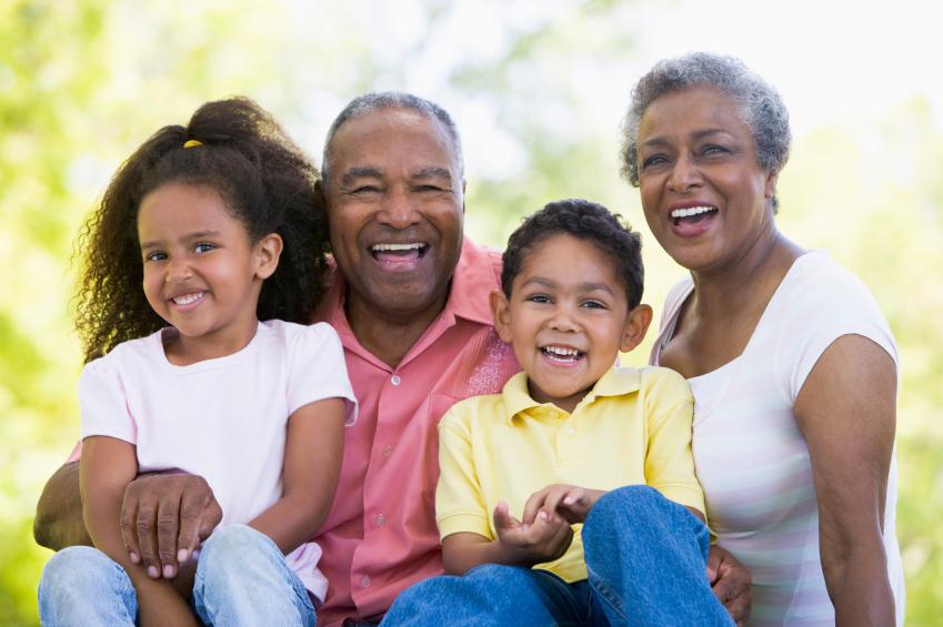 Grandparents yuck it up with their grandchildren
