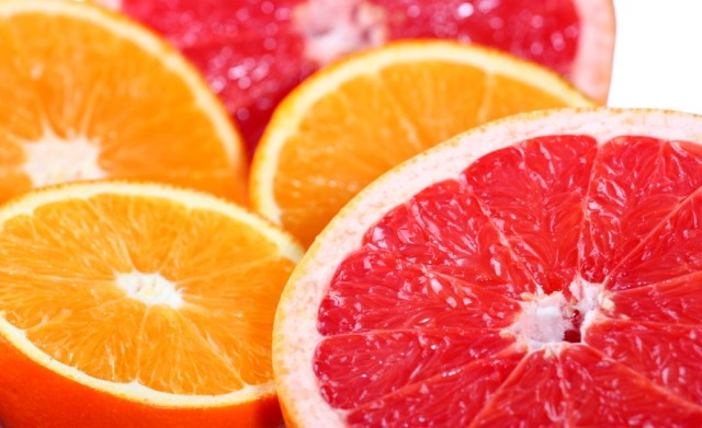 Citrus fruits: orange, grapefruit
