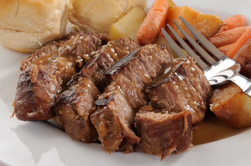 Braised brisket with potatoes and carrots