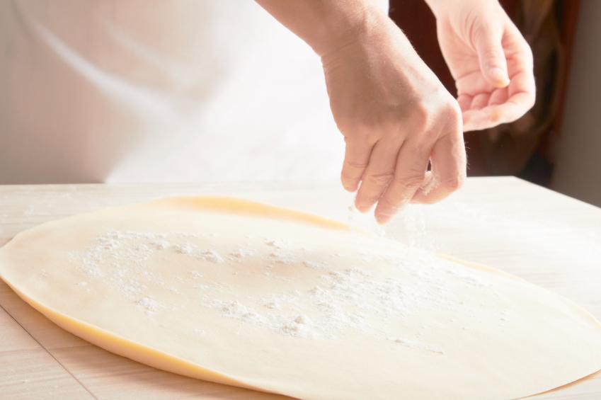 Pizza dough, flour