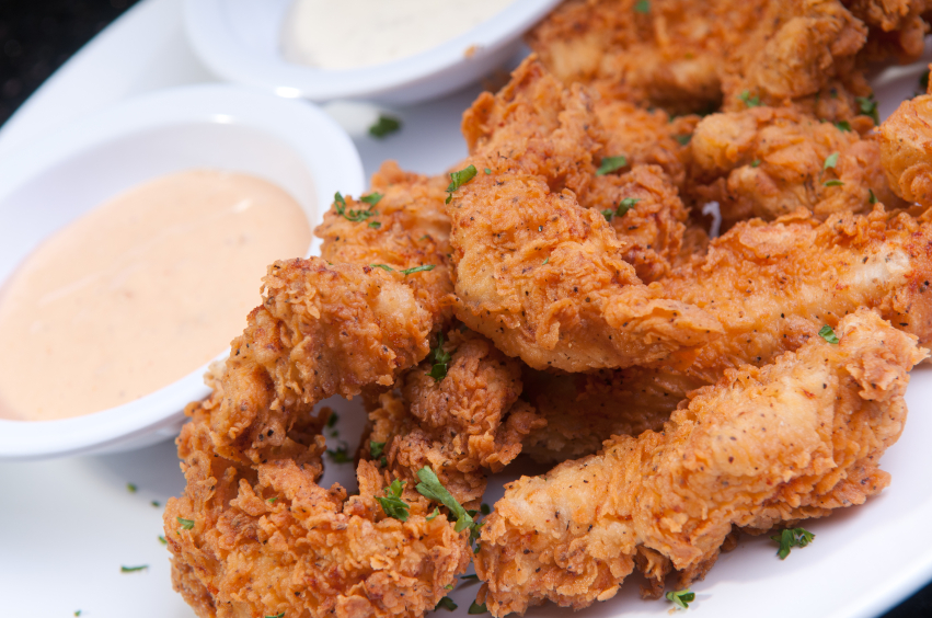 crispy fried chicken with sauce