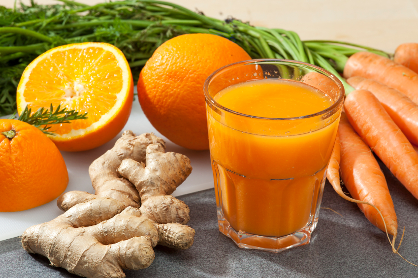 Fresh-pressed carrot, orange, and ginger juice
