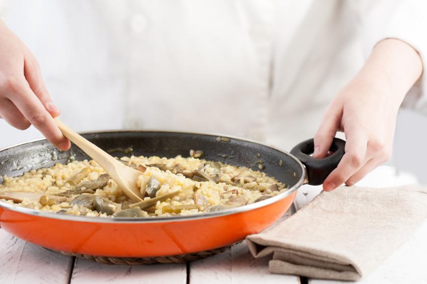 Stirring, rice, vegetables, pan, cooking