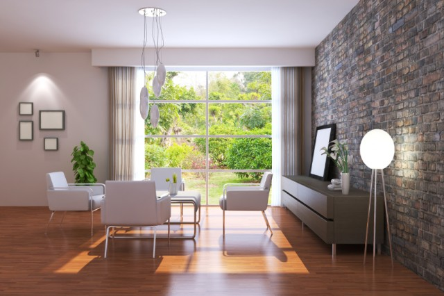 a living room with a window