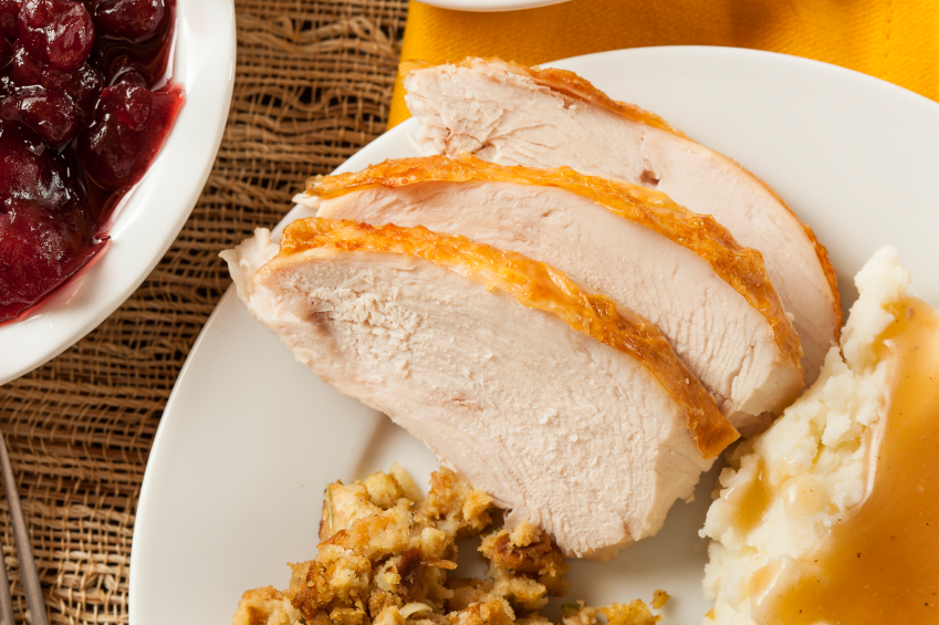Sliced Turkey Breast, stuffing, dinner roll