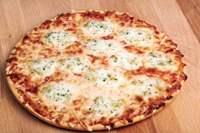 Thin crust cheese pizza