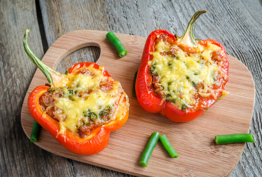 stuffed peppers topped with cheese