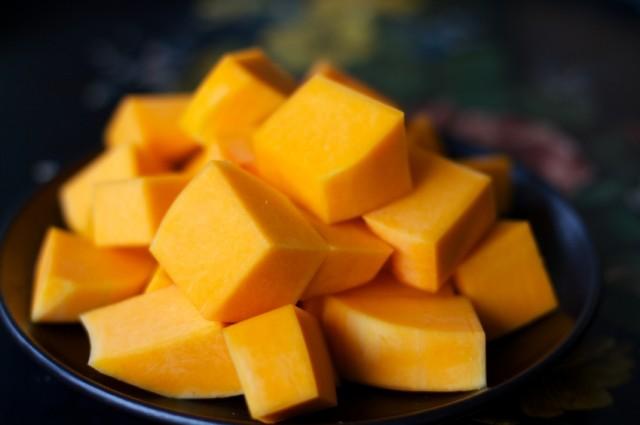 Cubed Squash, sliced, cut