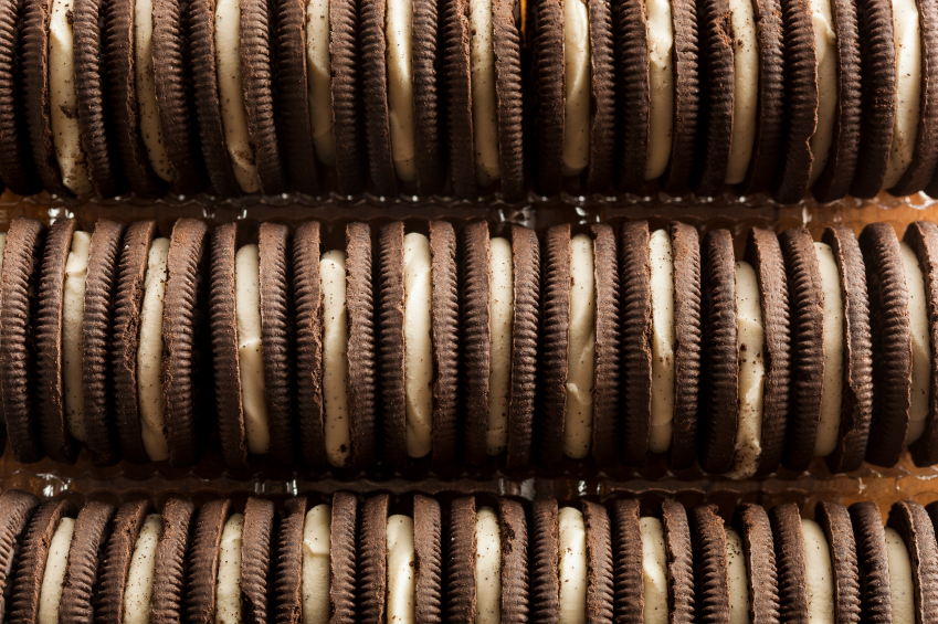 chocolate sandwich cookies in a box